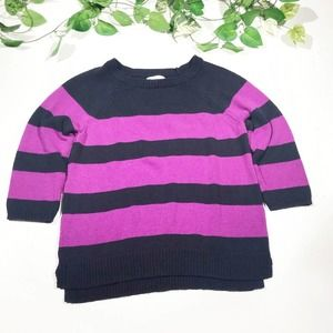LOFT 100% Cotton Purple & Navy Striped Sweater XL